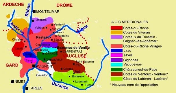 Carte des appellations de cotes du rhone meridionales c m crivellaro